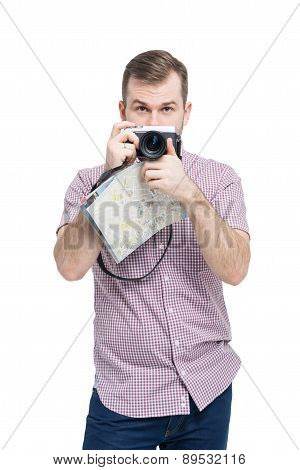Young Handsome Traveller Is Taking A Picturesque Photo. Isolated On White Background.