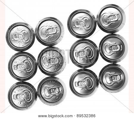 Beer Cans On White Background, View From The Top