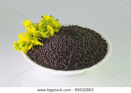 heap of Brown Mustard seeds and mustard flower