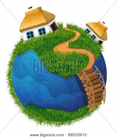 Earth Globe With Houses