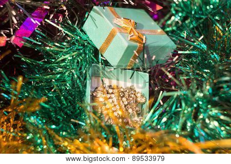 Green Gift Box And Tinsel