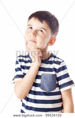 Thoughtful Boy With Finger On Chin