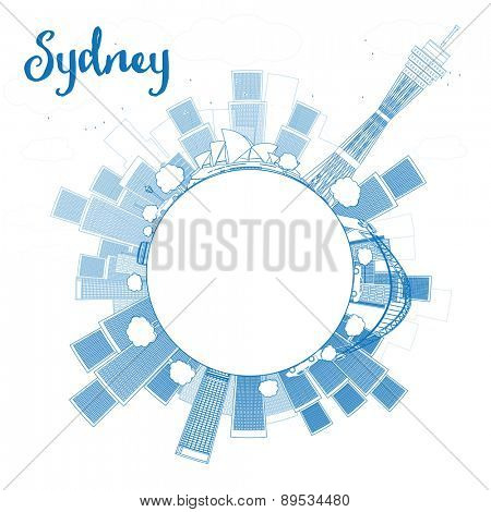 Outline Sydney City skyline with skyscrapers and copy space. Vector illustration