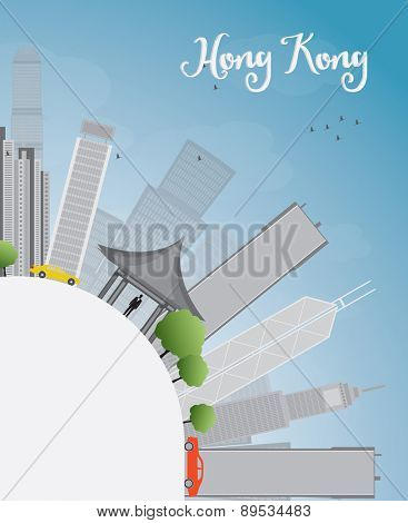 Hong Kong skyline with blue sky, taxi and copy space. Vector illustration