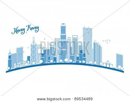 Outline Hong Kong skyline with blue skyscrapers and taxi. Vector illustration