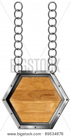 Hexagonal Sign With Metal Chain