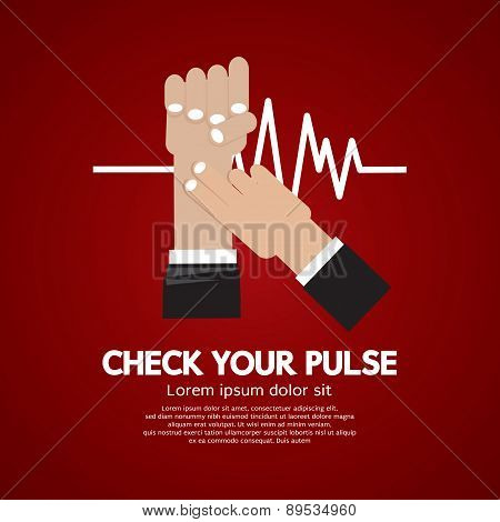 Fingers Checking Pulse Medical Concept.