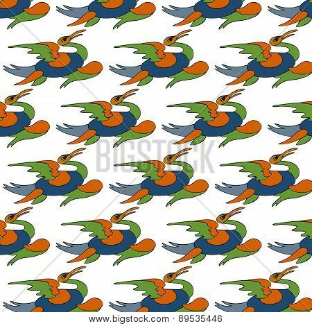 Seamless Pattern With Bright Spring Colors Feathers