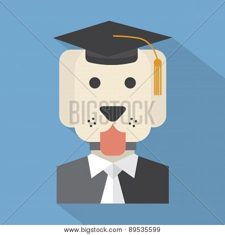 Dog With Mortarboard Pedigree Concept.