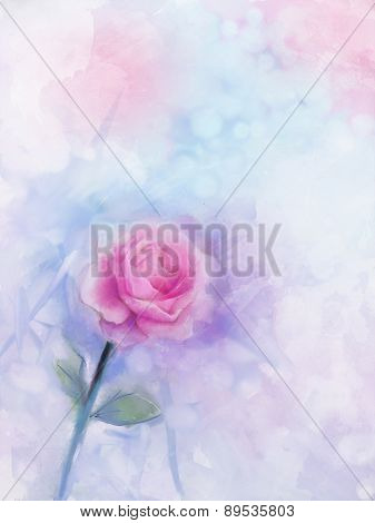 Flowers Painting. Pink Rose Floral In Pastel Color