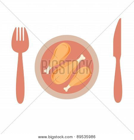 Roasted  Chicken In A Plate With Knife And Spoon.