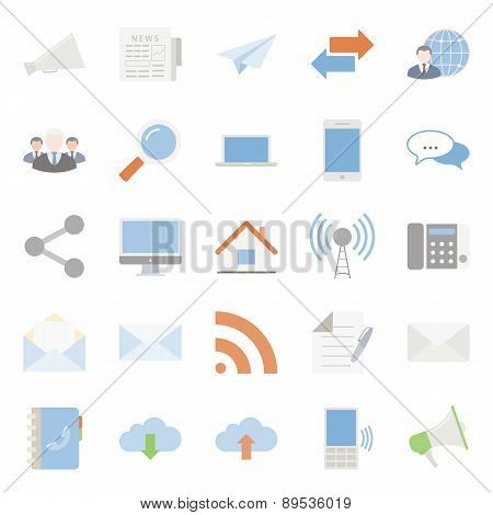 Comunication And Web Color Flat Icons Set