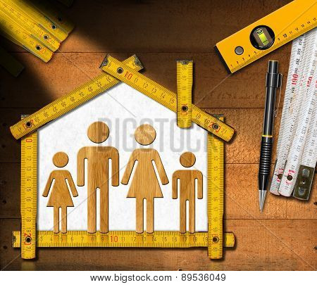 House Project - Wooden Meter With Family