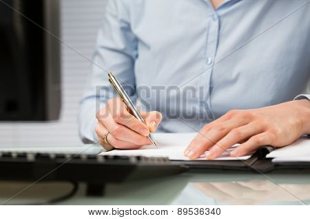 Business Person Signs A Contract