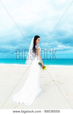 Beautiful Fiancee In White Wedding Dress With Big Long White Train And With Wedding Bouquet