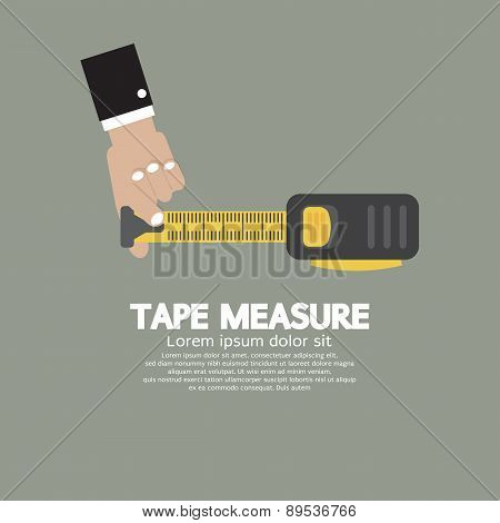 Tape Measure With Man's Hand.