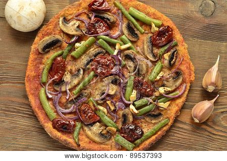 Pizza with mushrooms