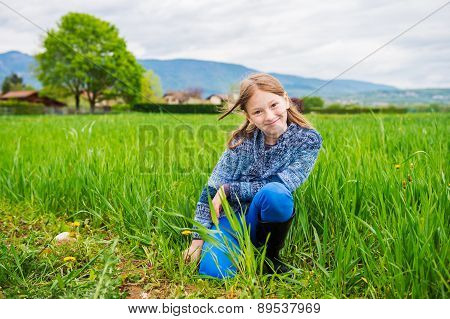 Fashion portrait of cute little girl of 7 years old