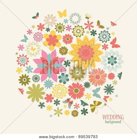 Vintage Greeting Card with Decorative Flowers and Butterflies. Summer Background can be used  for Wedding, Mother's Day, Birthday and other holiday.