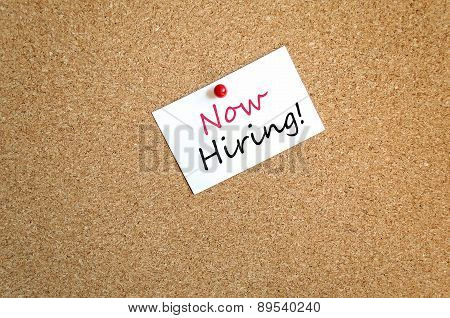 Sticky Note Now Hiring Concept