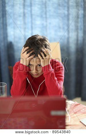 Confused boy foing hopmework