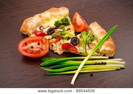 Vegetable Pizza On Wooden Board