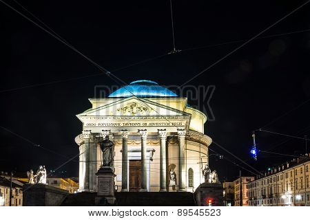 The Gran Madre Church in Turin by night