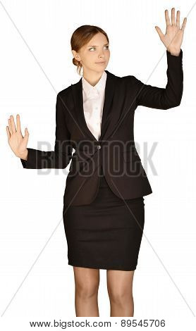 Business woman presses left hand in the empty space. white background