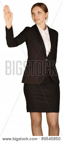 Business woman holds his right hand aloft. white background