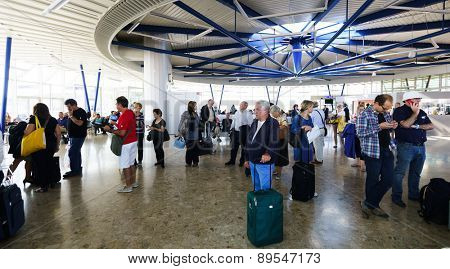 GENEVA - SEP 16: Airport interior on September 16, 2014 in Geneva, Switzerland. Geneva International Airport is the international airport of Geneva, Switzerland.