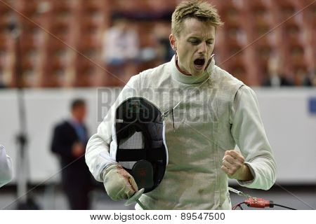 ST. PETERSBURG, RUSSIA - MAY 1, 2015: Roland Schlosser of Austria during 41th International fencing tournament St. Petersburg Foil. The tournament is the stage of FIE World Cup