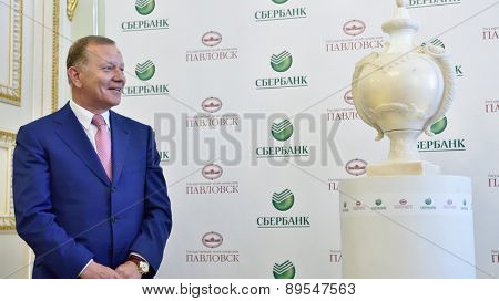 PAVLOVSK, ST. PETERSBURG, RUSSIA - APRIL 29, 2015: Ministry of Foreign Affairs representative Vladimir Zapevalov during the ceremony of the return of marble vase to the State Museum-Reserve Pavlovsk