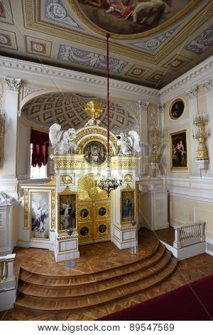 PAVLOVSK, ST. PETERSBURG, RUSSIA - APRIL 29, 2015: Interior of the Peter and Paul church in the Pavlovsk palace. Since 1990, the palace and park included in the UNESCO World Heritage list