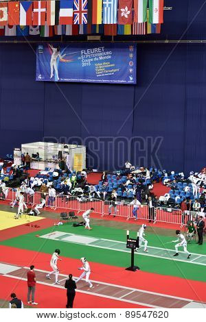 ST. PETERSBURG, RUSSIA - MAY 1, 2015: First day of competitions in 41th International fencing tournament St. Petersburg Foil. The tournament is the stage of FIE World Cup