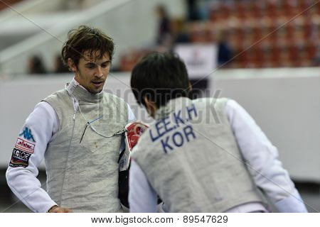 ST. PETERSBURG, RUSSIA - MAY 1, 2015: Andrea Baldini of Italy vs Kwanghyun Lee of Korea during 41th International fencing tournament St. Petersburg Foil. The tournament is the stage of FIE World Cup