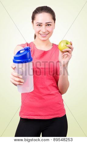 Sports Girl With Apple And Shaker