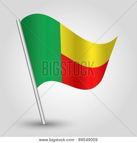 Vector Waving Simple Triangle African Flag On Pole - National Symbol Of Benin