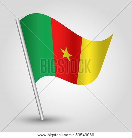 Vector Waving Simple Triangle Cameroonian  Flag On Pole - National Symbol Of Cameroon