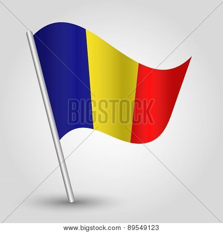 Vector Waving Simple Triangle Chadian Flag On Pole - National Symbol Of Chad