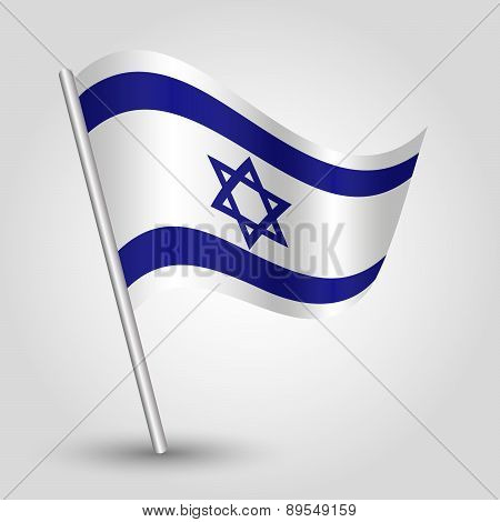 Vector Waving Simple Triangle Israeli Flag On Pole - National Symbol Of Israel