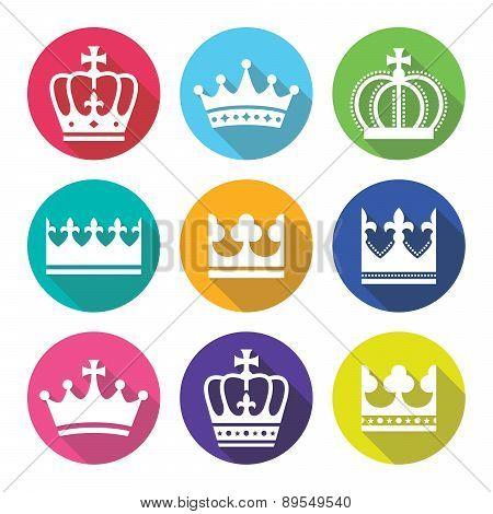 Crown, royal family flat design icons set