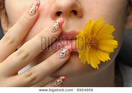 Female Face Close And Nail Art