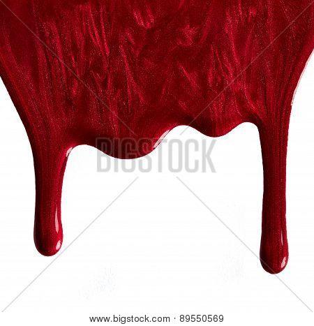 Shimmery Red Nail Polish