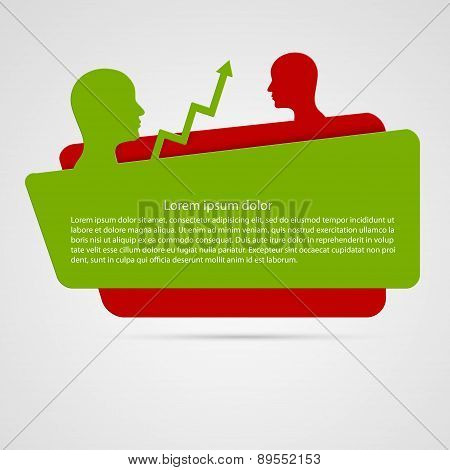 Origami Banner Business Humans With Chart Arrows . Idea Concept. Vector Illustration.