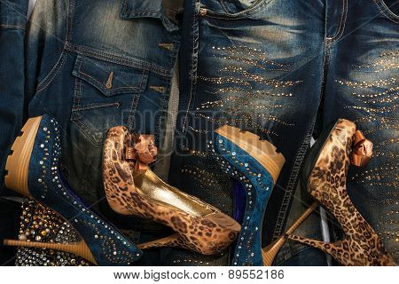 Beautiful Background Of Jeans, Jackets And Shoes With Crystals