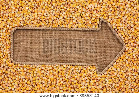 Pointer Made From Rope With Grain Corn  Lying On Sackcloth