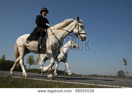RALBITZ, GERMANY - APRIL 24, 2011: Easter Riders attend the Easter ceremonial equestrian procession in the Lusatian village of Ralbitz near Bautzen, Upper Lusatia, Saxony, Germany.