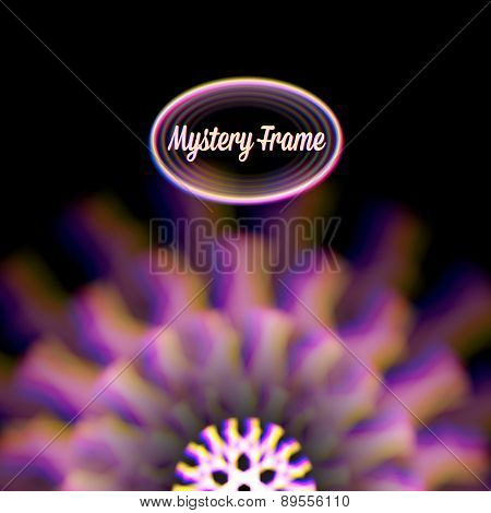 Mystic shiny card with circle ornament and color aberrations