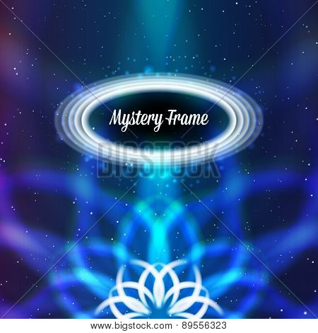 Mystic shiny card with ornament and color aberrations
