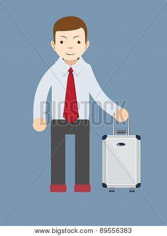 Office worker with a bag for travel, vector illustration
